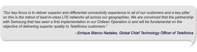 Samsung announce strategic partnership with Telefonica for a market-leading LTE Deployment in Chile