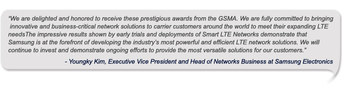 Samsung Smart LTE Networks Awarded Best Mobile Infrastructure and Outstanding Overall Mobile Technology