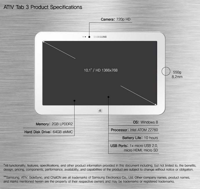 ATIV Tab 3 Product Specifications