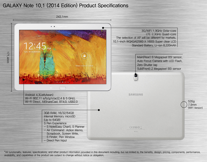 GALAXY Note 10.1 Specification