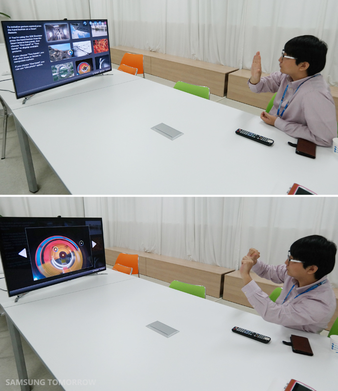Using the gesture feature of the Smart TV SDK.