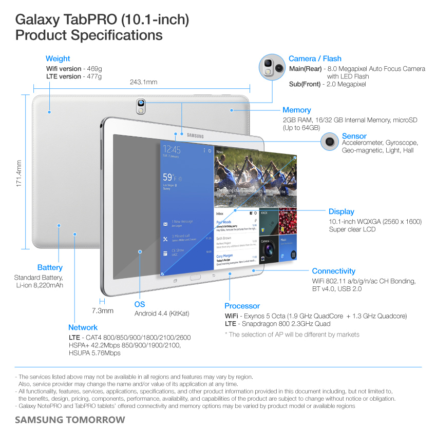 Galaxy TabPRO (10.1-inch) Product Specifications