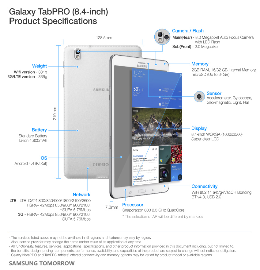 Galaxy TabPRO (8.4-inch) Product Specifications