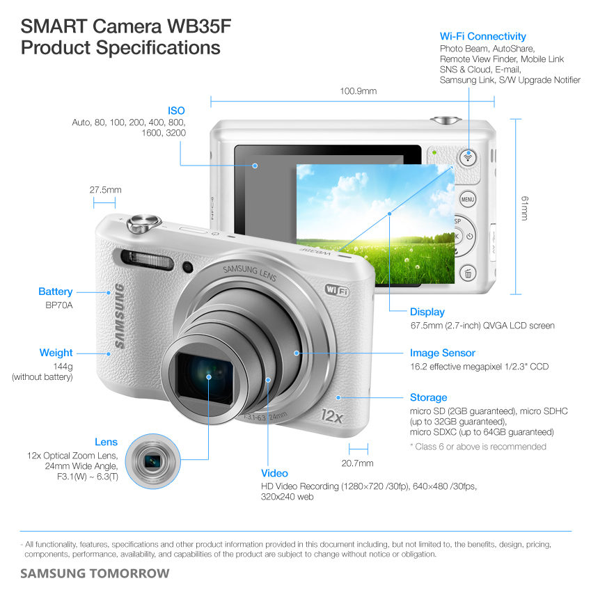 Samsung WB35F Specifications