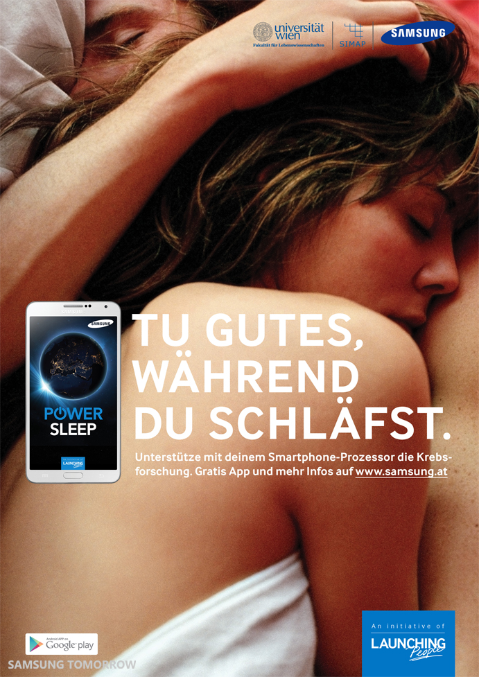 Samsung's on-going global branding campaign, the Launching People initiative. Power Sleep