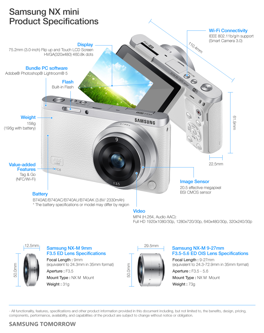 Samsung NX mini Product Specifications