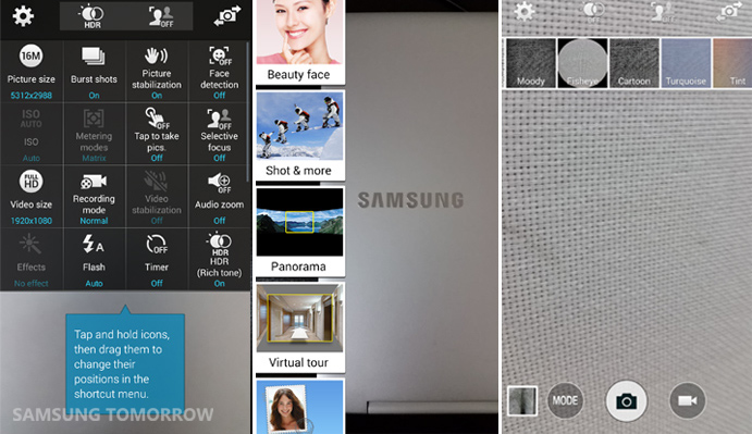 Some of the UI of the Galaxy S5 Camera
