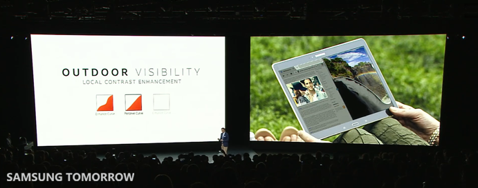 Outdoor visibility of the Galaxy Tab S