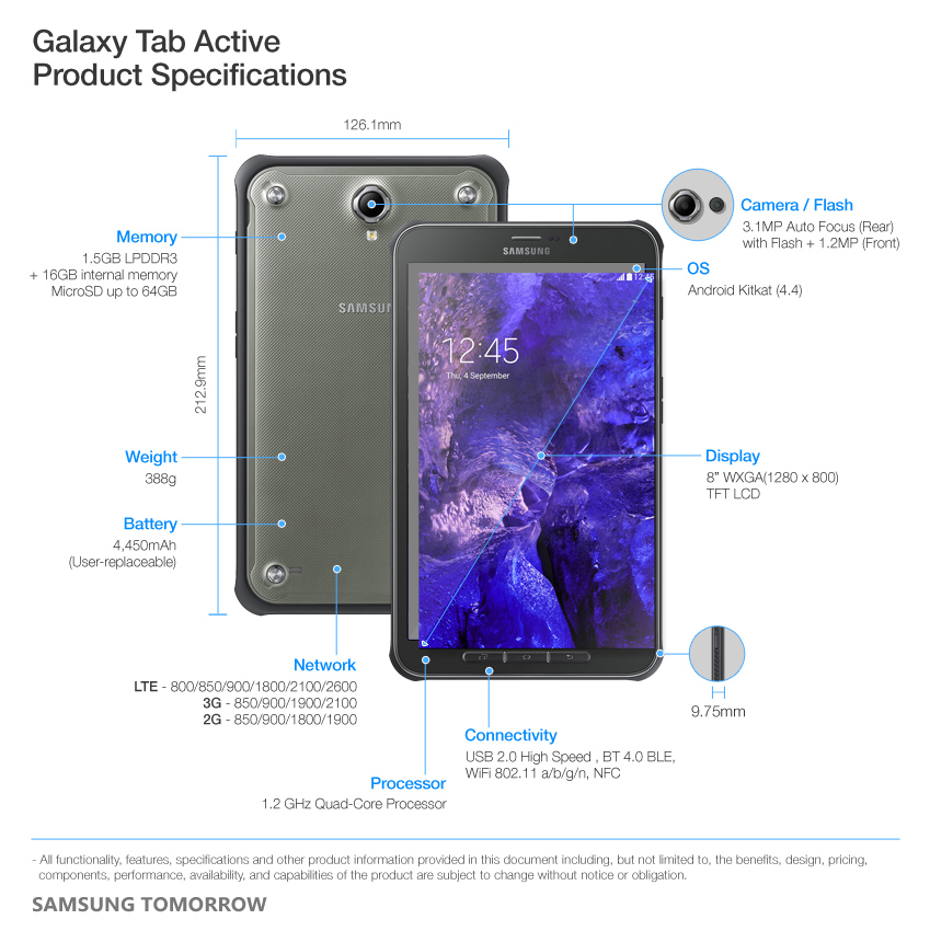 Galaxy Tab Active Product Specifications