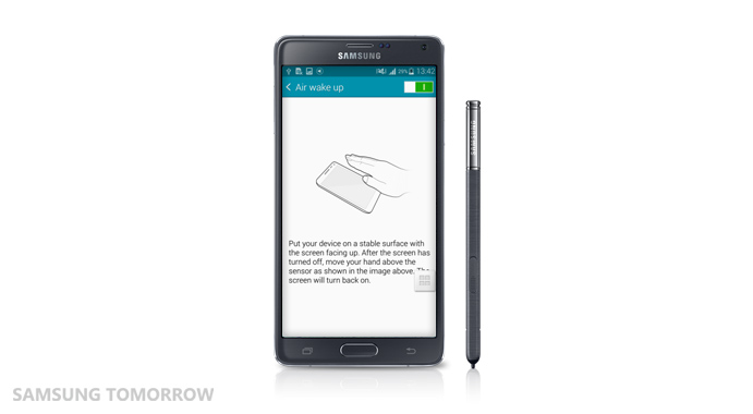 Air Wake up feature of the Galaxy Note 4