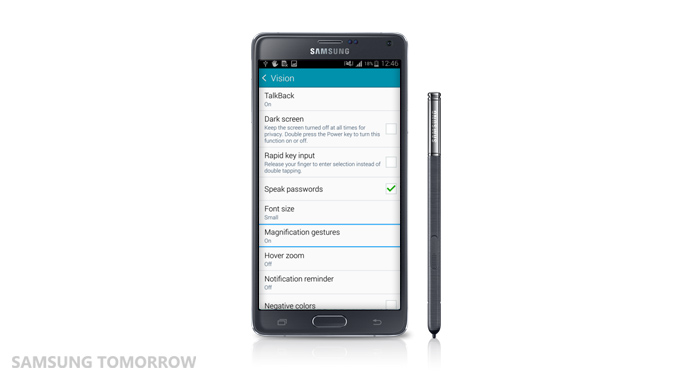 TalkBack feature of the Galaxy Note 4