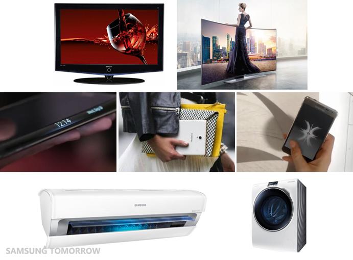 Samsung Bordeaux TV, Curved UHD TV, Galaxy Note Edge, Galaxy Tab S, Galaxy Alpha, Triangular Air Conditioner, and Crystal Blue WW9000 Washing Machine