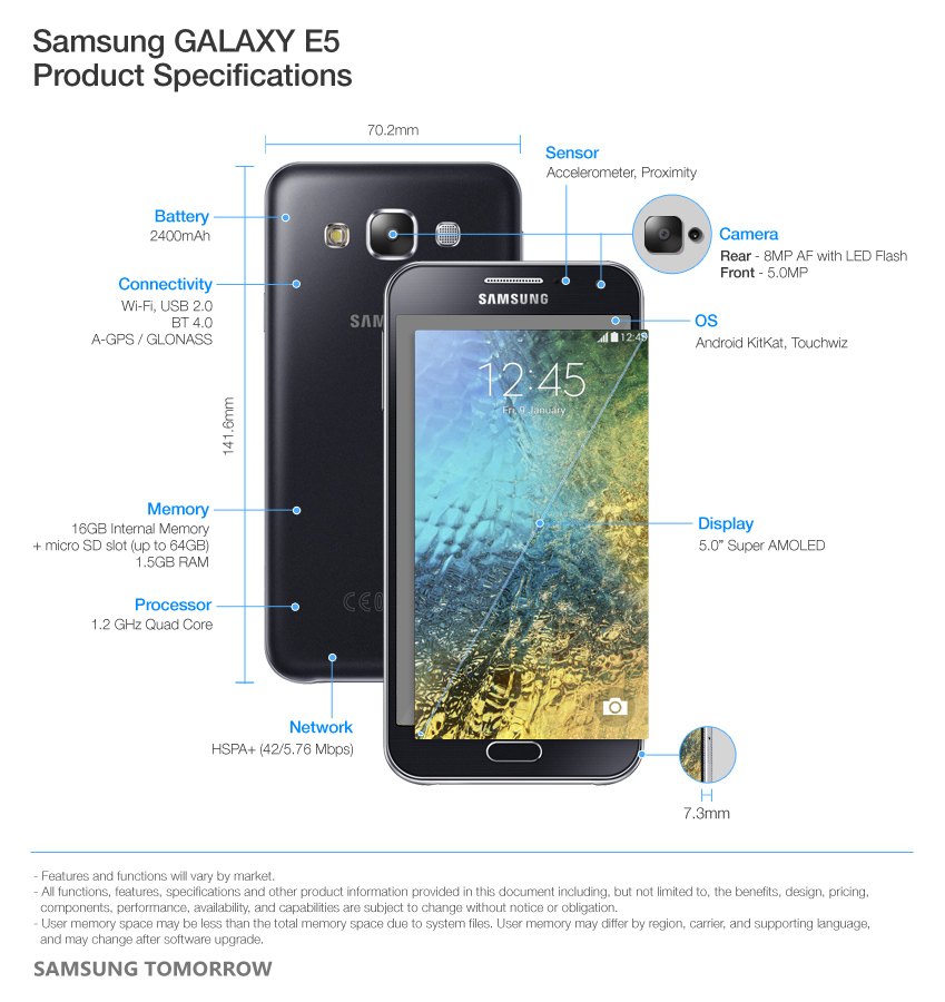 Samsung GALAXY E5 Product Specifications