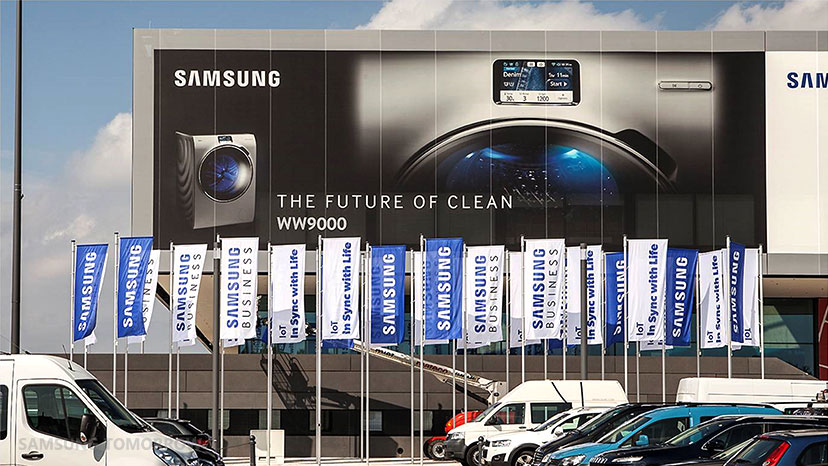 Samsung Electronics' outdoor signage installed at CityCube Berlin, where new products will be exhibited, for the upcoming BIFA 2015 event.