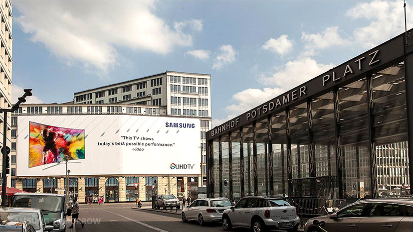 Samsung Electronics' outdoor signage installed at Potzdamer Platz (Potzdamer Square) for the upcoming BIFA 2015 event.