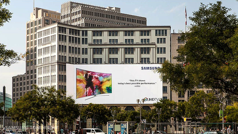 Samsung Electronics' outdoor signage installed at Potzdamer Platz (Potzdamer Square) for the upcoming IFA 2015 event.