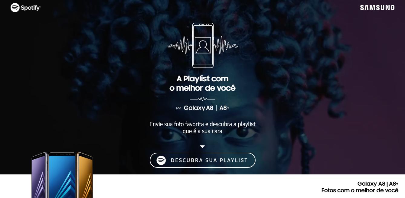 Samsung promove galaxy a8 com playlists no spotify de acordo com a samsung est promovendo a ao a playlist com o melhor de voc oferecendo msicas no spotify de acordo com o perfil e estilo dos usurios stopboris Choice Image