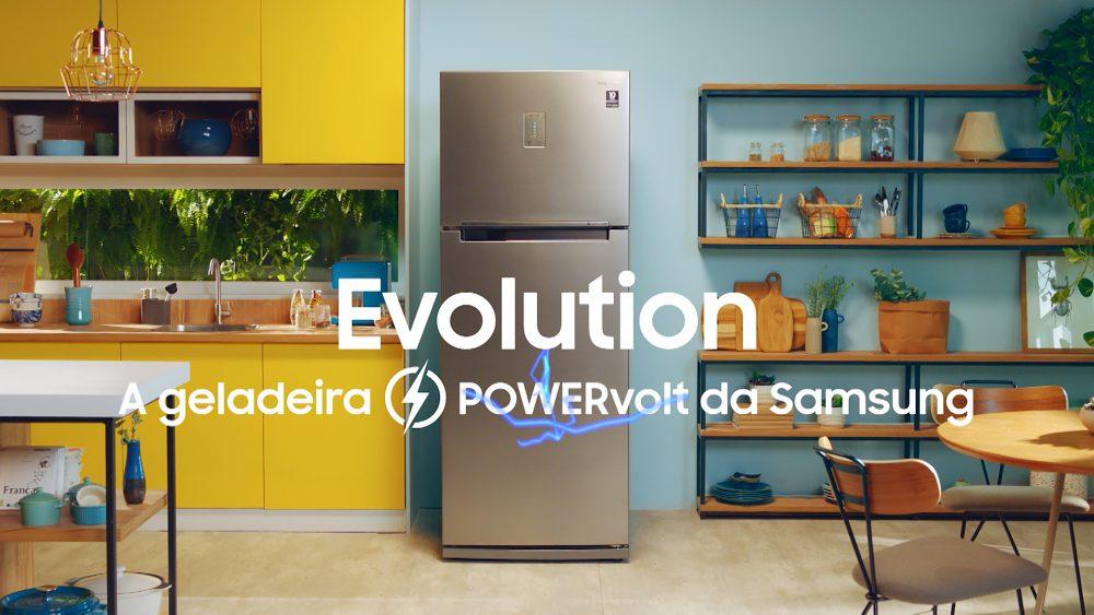Arte da campanha feita pela Samsung para as geladeiras Evolution com tecnologia POWERvolt