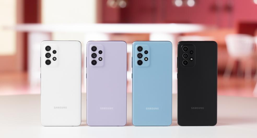 Quatro opções de cores da nova linha de smartphones Samsung Galaxy A