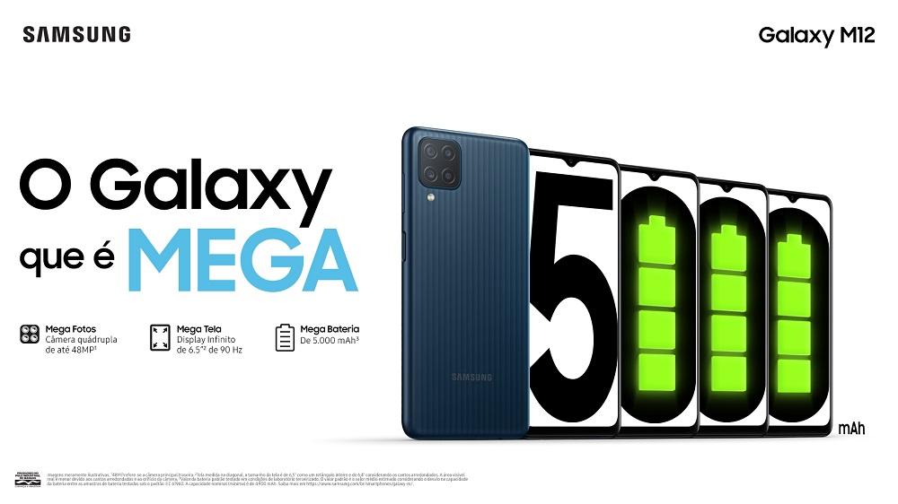 Imagem de divulgação do smartphone Galaxy M12