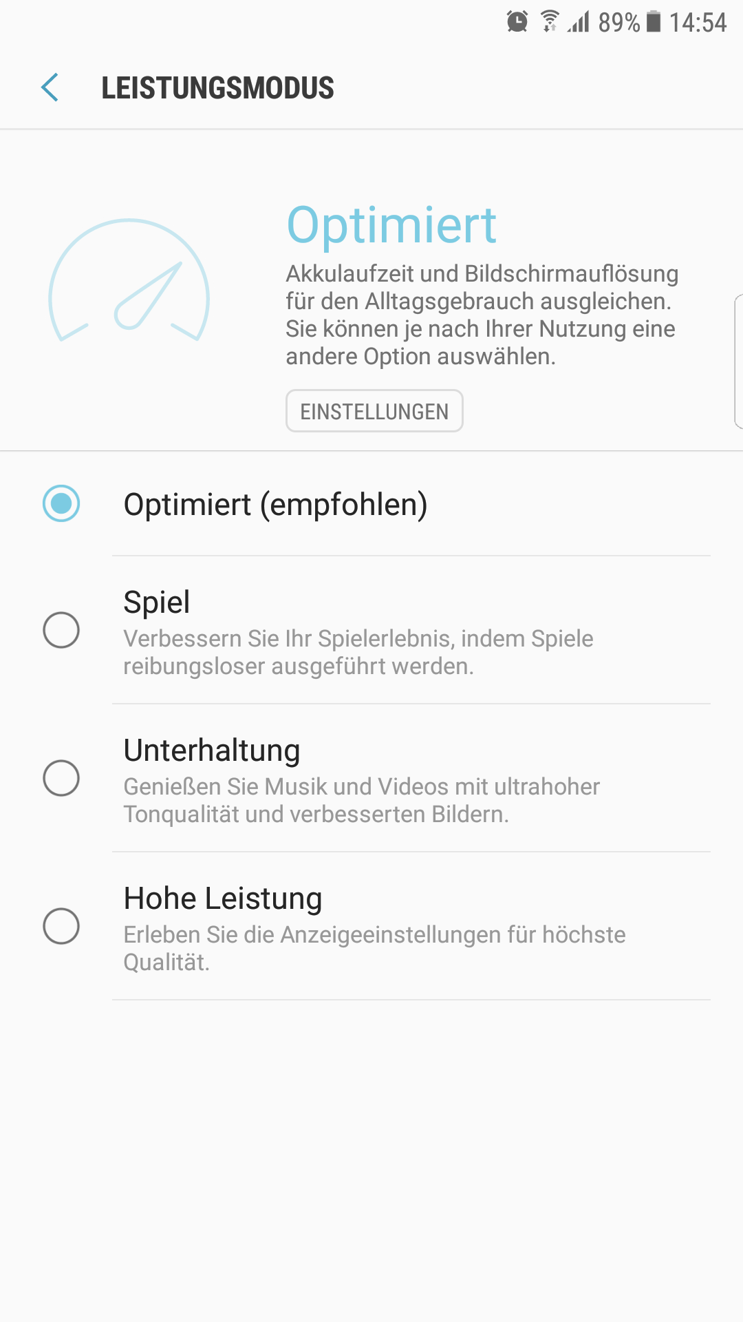 Samsung Galaxy S7 Android 7.0 Leistungsmodus