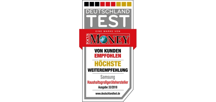 Deutschlandtest 1 Platz Fur Samsung Hausgerate Samsung Newsroom
