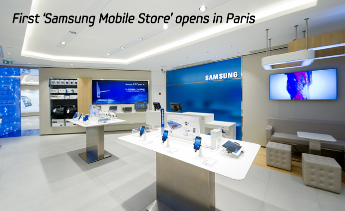 first samsung mobile store opens in paris samsung global newsroom. Black Bedroom Furniture Sets. Home Design Ideas