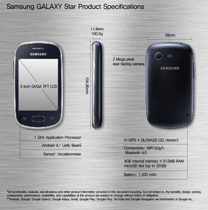 Samsung GALAXY Star Product Specifications