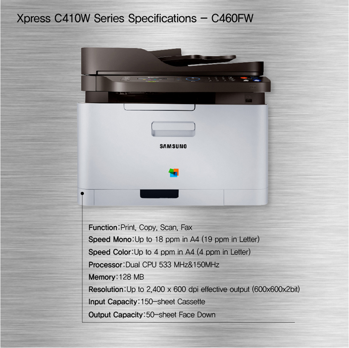 Xpress C410W Series Specifications- C460FW