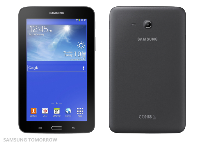 Galaxy Tab3 Lite front and back black
