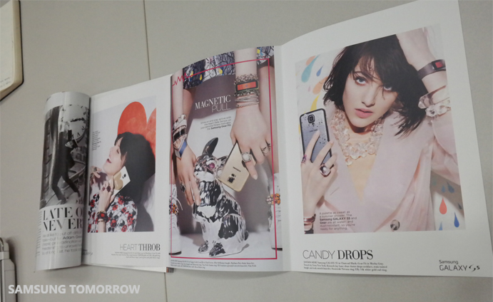 Currently, the distinctive features of the Galaxy S5, Gear 2, and Gear Fit and new images are shown not only in Vogue, but also in various other fashion magazines.
