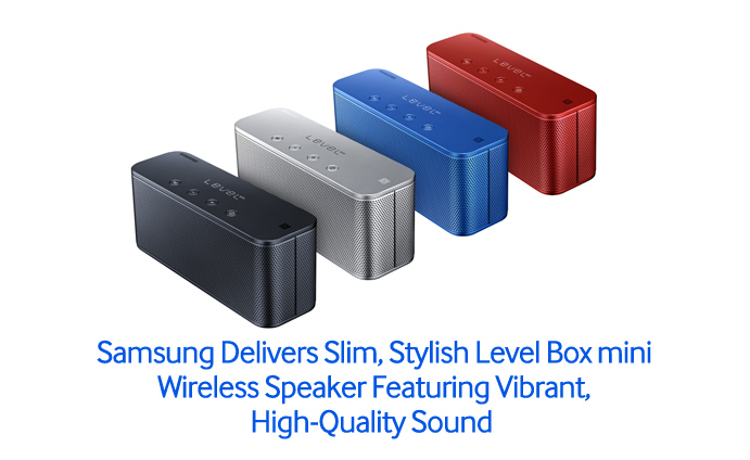 samsung delivers slim stylish level box mini wireless speaker featuring vibrant high quality. Black Bedroom Furniture Sets. Home Design Ideas