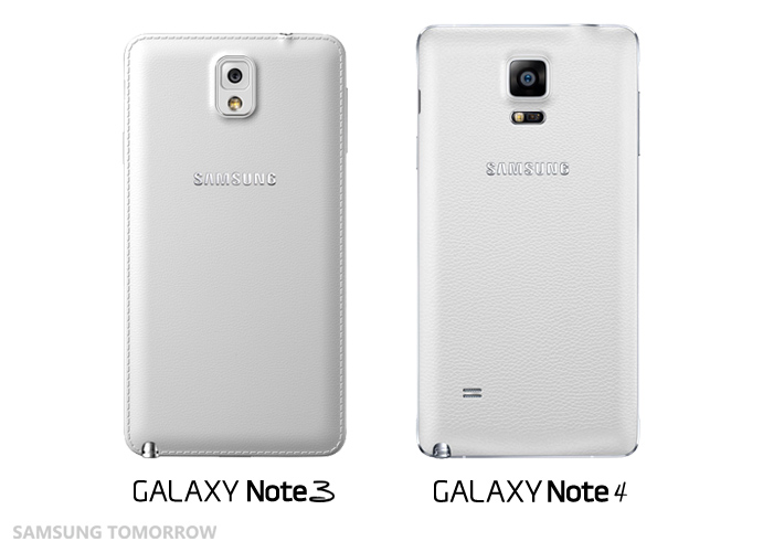 Back of the Galaxy Note 3 and Note 4