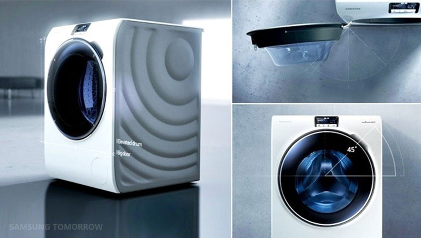 the journey of the ww9000 crystal blue washer samsung global newsroom. Black Bedroom Furniture Sets. Home Design Ideas