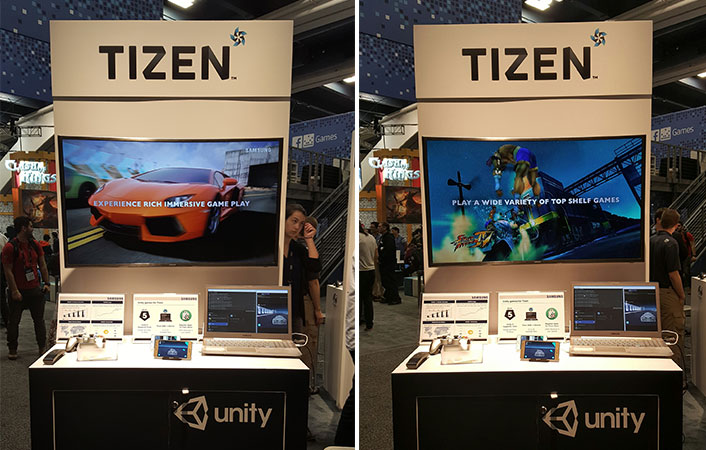 The Samsung TV Games and Samsung Mobile Z display booth at GDC 2016.