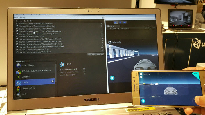Images of a Unity-based car racing demo app being played on the Tizen platform.