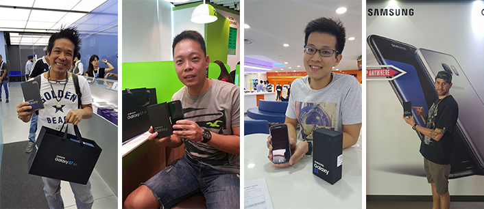 The first Galaxy S7 and S7 edge buyers from four stores in Singapore.