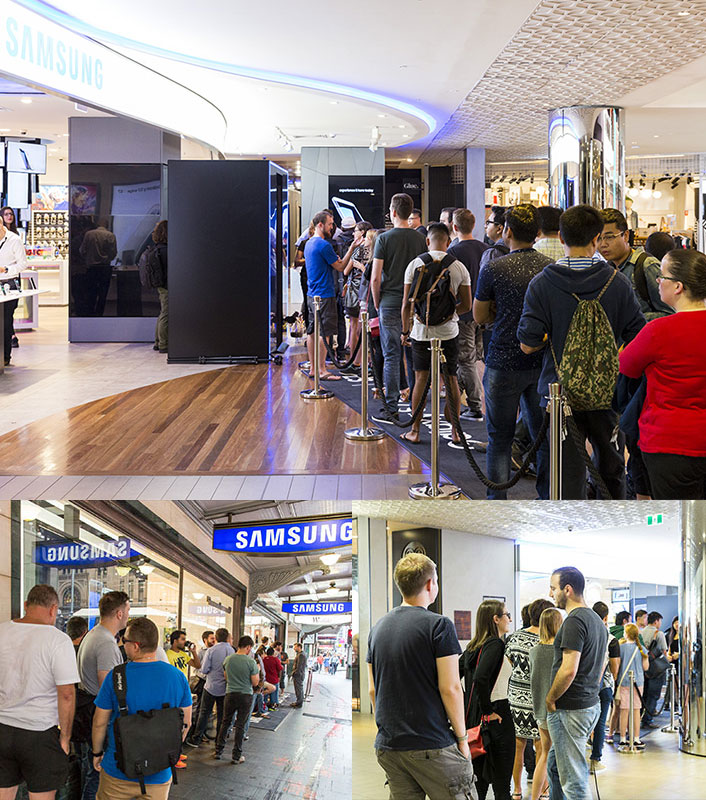 Long lines of excited customers, waiting to get their Galaxy S7 and S7 edge devices at the Samsung Experience Stores in Sydney and Melbourne, Australia.