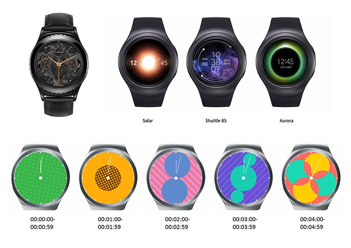 Sample watch faces made with the Gear Watch Designer.
