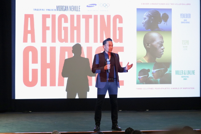"Pio Shunker, SVP, presents the documentary at ""A Fighting Chance"" Premier Event at Tribeca Film Center"