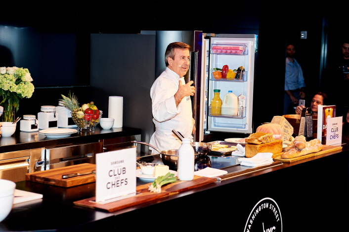 Chef Daniel Boulud demonstrating how to prepare a croque-monsieur at Samsung 837 in New York City on Wednesday evening.