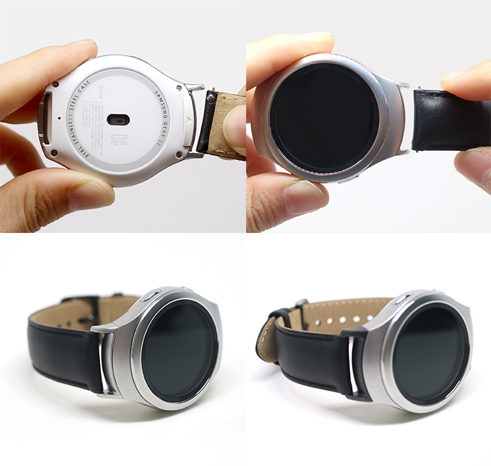(With the Gear S2 Band Adapter, Gear S2 users can attach standard 20mm watch straps, including the Gear S2 classic strap)
