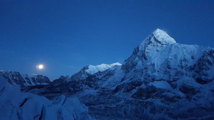 A view of Mt. Everest at the break of dawn.