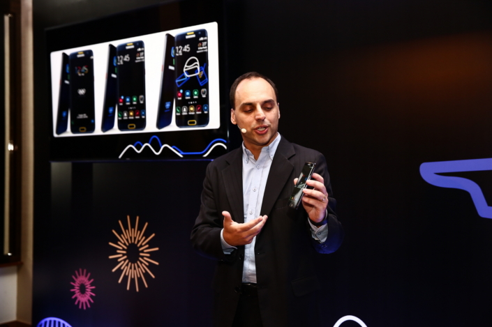 Senior Manager of the Mobile Division of Samsung Brazil, Renato Citrini, showing unique design and UX of Galaxy S7 edge Olympic Games Limited Edition during a Samsung event in Sao Paulo, Brazil to highlight Samsung's Rio 2016 Olympic Games initiatives.