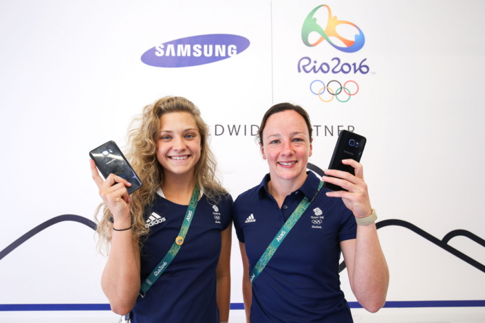 Team Great Britain synchronized divers Alicia Blagg and Rebecca Gallantree receive their Samsung Galaxy S7 edge Olympic Games Limited Edition at the Samsung Galaxy Studio in the Rio 2016 Olympic Village in Rio de Janeiro, Brazil.