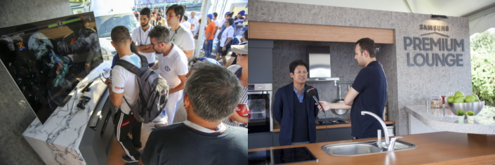 At the Samsung Premium Lounge, guests get a closer look at the brand's latest CE innovations and President Mr. DH Kim expounds on sport and unity's links to the brand.