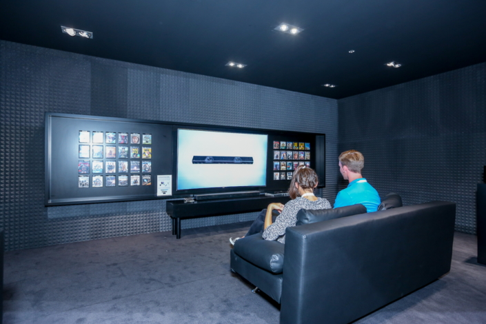 The 4K Home Theater room showcases how significantly the HW-K950 Soundbar, UBD-K8500 Ultra HD Blu-ray player and Samsung's Quantum dot SUHD TVs amplify the viewing experience, pairing cinematic sound with visual firepower.
