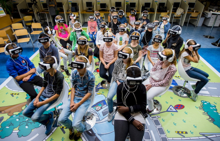 The first batch of students experience the Beat the Street virtual reality game