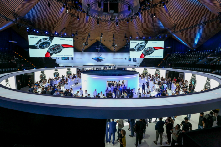 Event attendees gather in the Experience Zone to get a closer look at the brand new Gear S3.