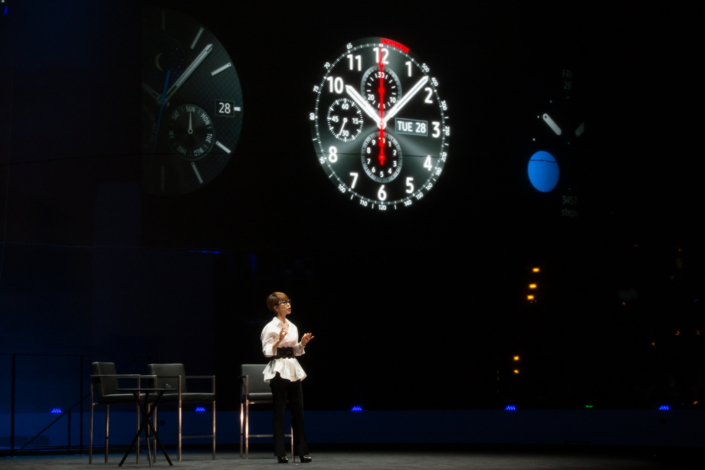 "Samsung's Executive Vice President of Global Marketing, Mobile Communications Business, Younghee Lee, opens the event with a speech outlining Samsung's goal for the Gear S3—to redefine the smartwatch experience by adding traditional, real-watch value. With the Gear S3, she noted, Samsung was able to ""complete and perfect the Gear S series even further."""